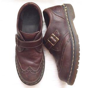 Dr. Martens Brown Saxon Channon Monk Strap Shoes